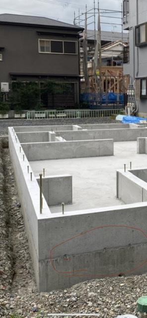 茨木市耳原の基礎が完成しました。